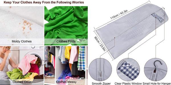 Pack x6 Fundas de Ropa Gikpal para chaquetas, abrigos y vestidos oferta en Amazon