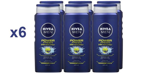 Pack x6 Nivea Power Fresh gel de ducha de 400 ml barato en Amazon