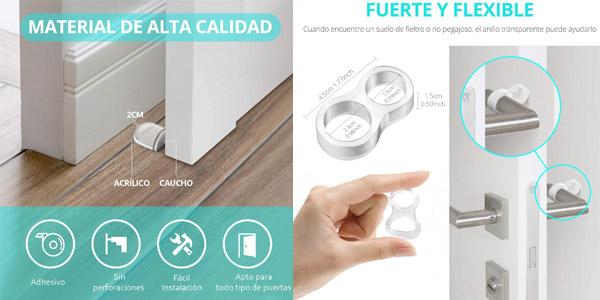 Pack x6 topes transparentes y adhesivos para puertas Aywne chollo en Amazon