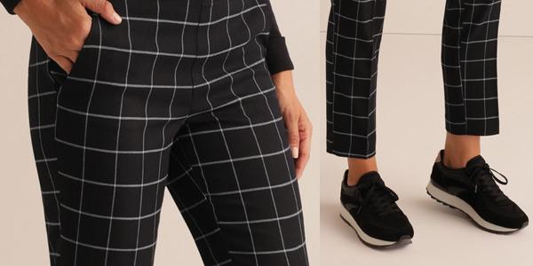 Pantalón de cuadros Unit con cintura elástica para mujer chollo en AliExpress Plaza