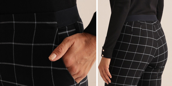 Pantalón de cuadros Unit con cintura elástica para mujer oferta en AliExpress Plaza