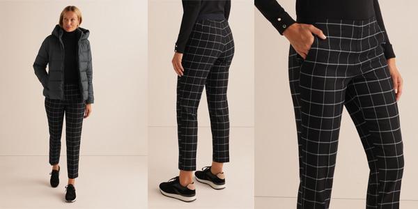 Pantalón de cuadros Unit con cintura elástica para mujer baratos en AliExpress Plaza