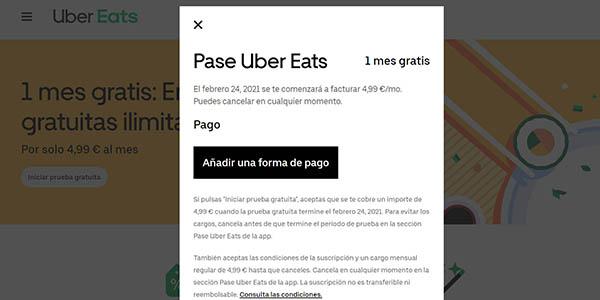 Pase Uber Eats envíos gratis e ilimitados