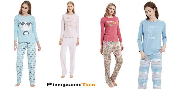 Pijamas de mujer PimpamTex 100% algodón baratos en AliExpress