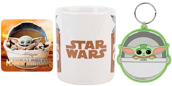 Pack Yoda Child de The Mandalorian con taza de 320 ml, llavero y posavasos barato