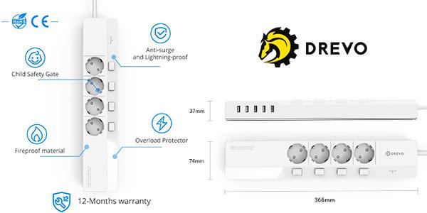 Regleta Drevo DP45 de 4 enchufes con interruptores y 5 puertos USB barata