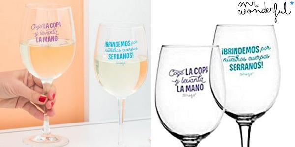 Set de 2 Copas de Vino Mr. Wonderful Para Brindar por Nuestra Amistad oferta en Amazon