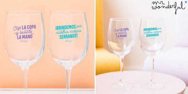 Set de 2 Copas de Vino Mr. Wonderful Para Brindar por Nuestra Amistad chollo en Amazon