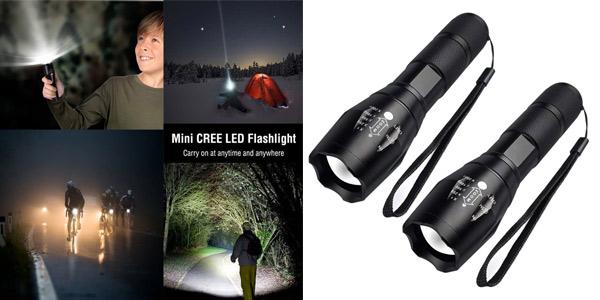 Pack x2 linternas LED de alta potencia Fagory 2000 lumenes barato en Amazon