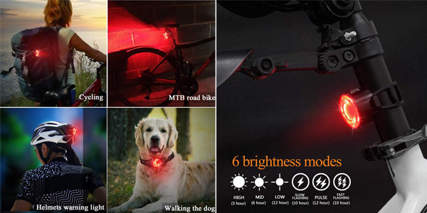 Luces Bicicleta LED Recargable USB MOGZZi chollo en Amazon