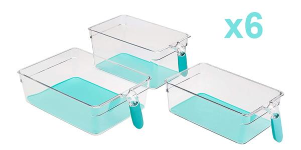Set x6 Recipientes de frigorífico AmazonBasics con asas barato en Amazon