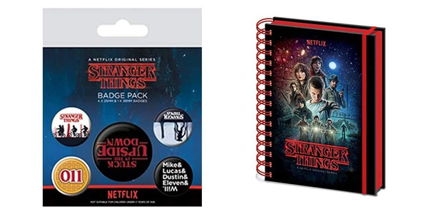 Cuaderno de notas Stranger Things A5 + 5 chapas oficiales Upside Down barato en Amazon