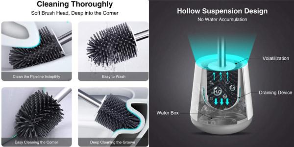 Escobilla y portaescobilla de inodoro Wotek en silicona de fácil limpieza chollo en Amazon