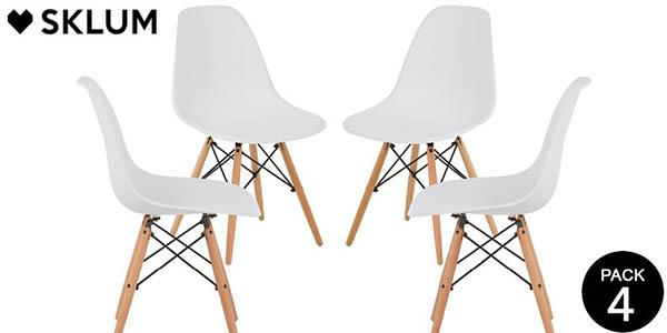 Conjunto 4 sillas Sklum Brich Scand de estilo nórdico