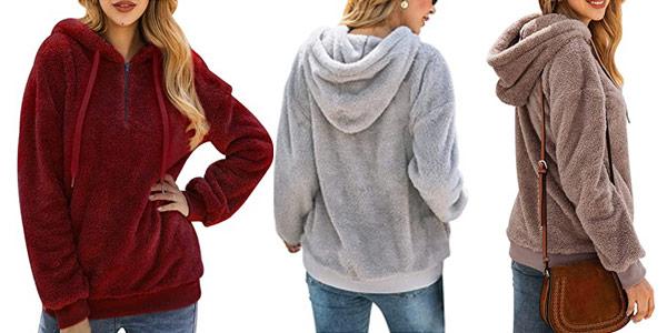 Comprar Sudadera polar Bwiv con capucha para mujer oferta en Amazon