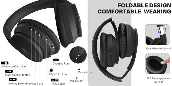 Auriculares Oneodio A40 con cancelación de ruido y conexión Bluetooth 5.0 chollo en AliExpress