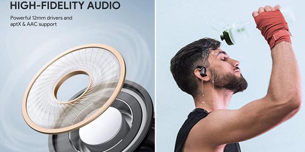Auriculares deportivos bluetooth Aukey Aptx EPT-32 de 35 horas de reproducción oferta en Amazon