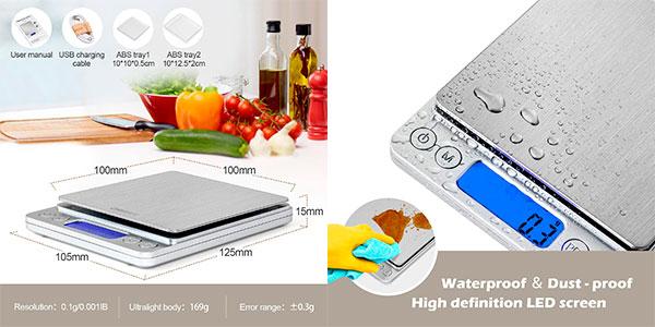 Báscula de cocina digital CHWARES con carga USB barata