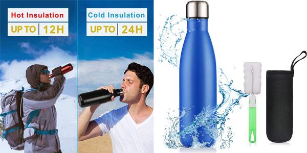 Botella térmica flintronic de 500 ml con funda y cepillo limpieza barata en Amazon