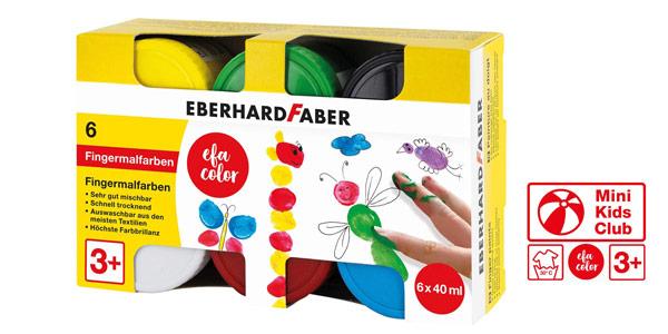 Pack x6 botes pintura de dedos Eberhard Faber de 40 ml cada uno barato en Amazon