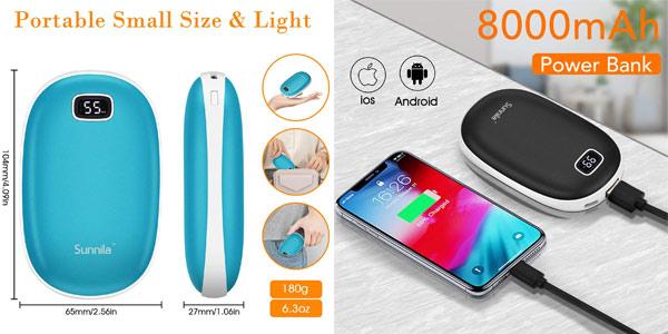 Calentador de manos recargable por USB Sunnila con batería externa de 8000 mAh chollo en Amazon
