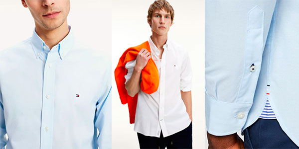 Camisa Tommy Hilfiger Peached de popelina para hombre barata