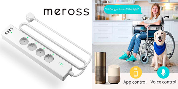 Chollo Regleta inteligente Meross MSS425F con 4 enchufes y 4 USB