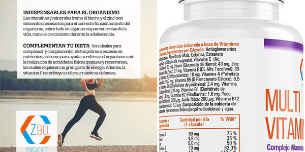Complejo vitamínico x90 Cápsulas Multi vitaminerals Z90 chollo en Amazon