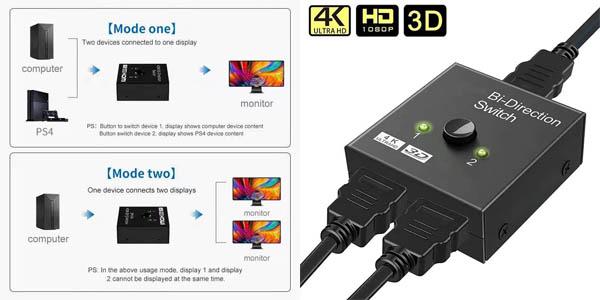 Conmutador BGGQGG HDMI 4K bidireccional en AliExpress