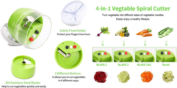 Cortador de Verduras Alioo con 4 cuchillas diferentes chollo en Amazon