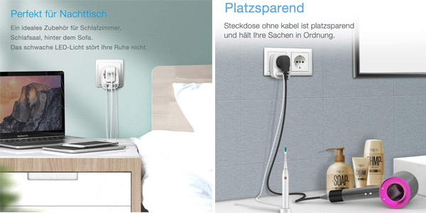 Enchufe Pared Tessan con 2 puertos USB de carga chollo en Amazon