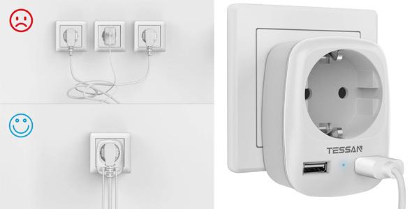 Enchufe Pared Tessan con 2 puertos USB de carga barato en Amazon