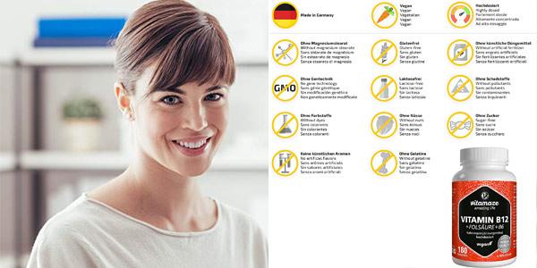 Envase x180 Comprimidos Vitamina B12 Altamente Concentrada + B6 + B9 chollo en Amazon