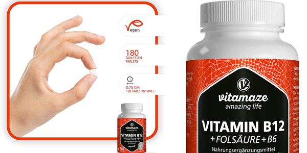 Envase x180 Comprimidos Vitamina B12 Altamente Concentrada + B6 + B9 oferta en Amazon