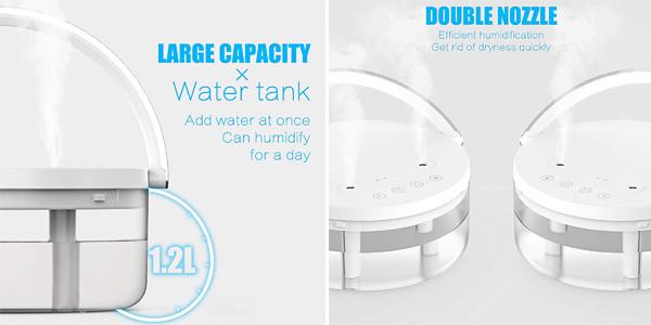 Humidificador de aire ultrasilencioso con boquillas de vapor duales oferta en Amazon