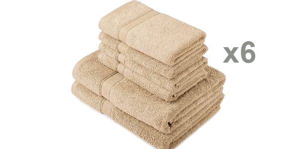 Juego x6 toallas de algodón egipcio Pinzon by Amazon baratas en Amazon