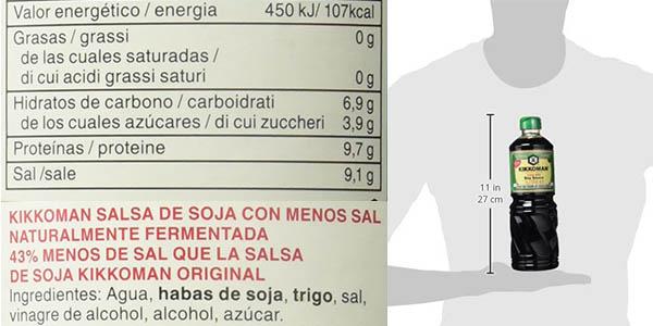Kikkoman salsa de soja menos sal 1 litro chollo