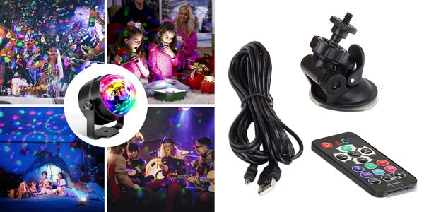 Luz de discoteca OMERIL con 4M Cable USB y mando a distancia chollo en Amazon