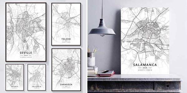 Pinturas sobre lienzo de mapas de ciudades españolas oferta en AliExpress