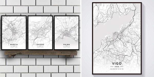 Pinturas sobre lienzo de mapas de ciudades españolas baratas en AliExpress