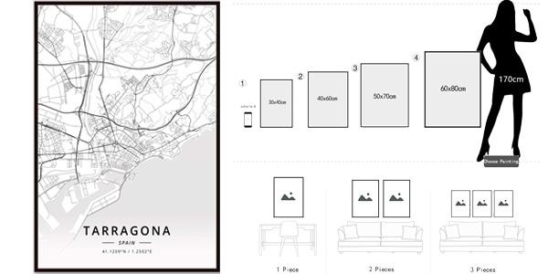 Pinturas sobre lienzo de mapas de ciudades españolas chollo en AliExpress
