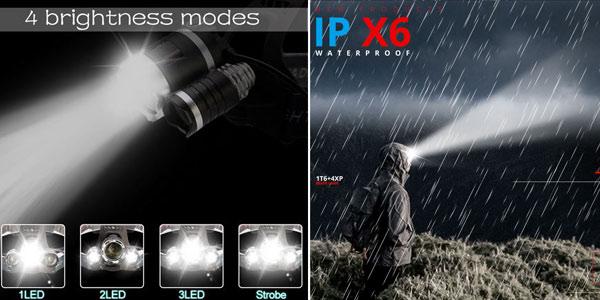 Linterna frontal triple LED T6 TRLife de 8000 lúmenes chollo en AliExpress