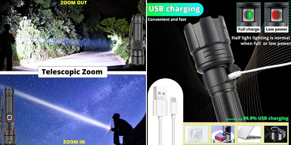 Linterna LED XHP90.2 ultra potente y recargable chollo en AliExpress