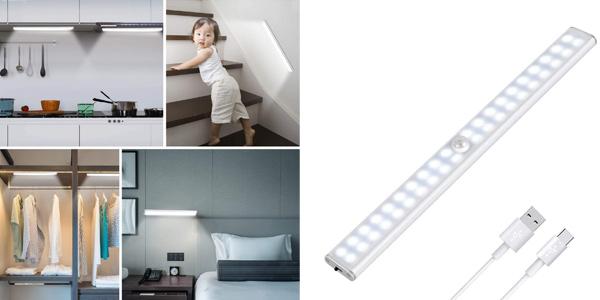 Luz LED Tanbaby con sensor de movimiento y recargable por USB barata en Amazon