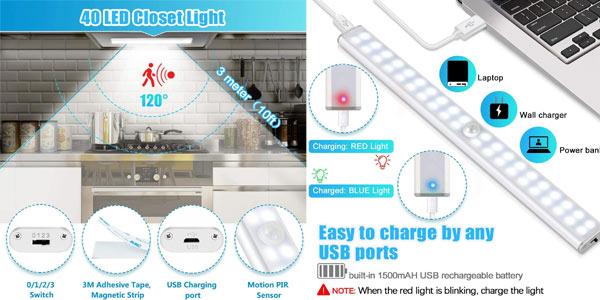 Luz LED Tanbaby con sensor de movimiento y recargable por USB chollo en Amazon