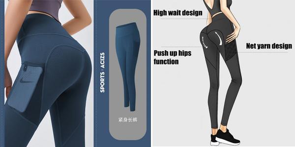 Mallas deportivas Sport x Acizs con efecto push-up, cintura alta y bolsillo para mujer baratas en AliExpress