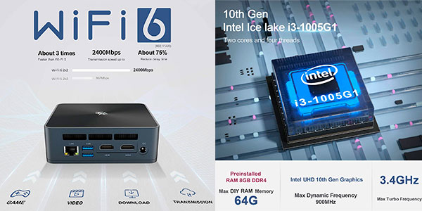 Mini PC Beelink SEi10 (i3-1005G1, 8GB, 256GB SSD, WiFi 6, W10) barato