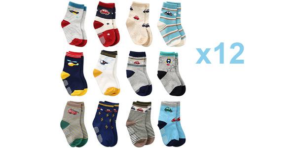 Pack x12 Pares de calcetines antideslizantes Wobon para bebé y niños barato en Amazon