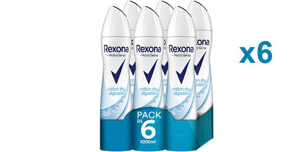 Pack x6 Desodorante antitranspirante Rexona Motion Sense Cotton Dry Algodón para mujer barato en Amazon