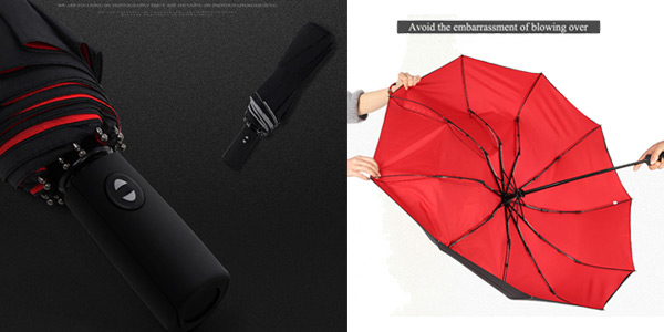 Paraguas plegable automático con doble capa chollo en AliExpress